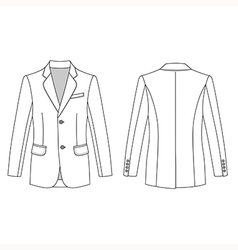 Long sleeve mans buttoned jacket outlined template vector