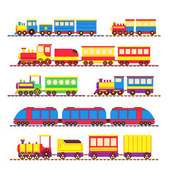Cartoon kids toy trains locomotive and wagons vector
