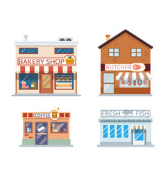 Food shops building set butcher coffee fish bakery vector