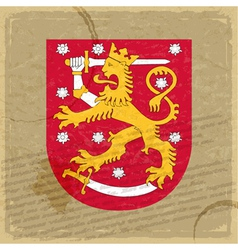 Finland coat of arms on an old sheet of paper vector image