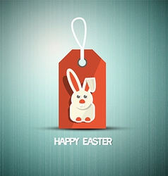 Blue easter retro background with bunny on red vector