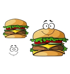 Cartoon isolated fast food cheeseburger vector