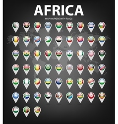 Map markers with flags - africa original colors vector
