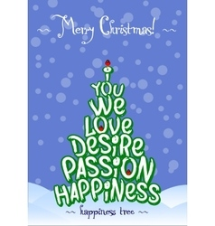 Christmas happiness love tree card design vector