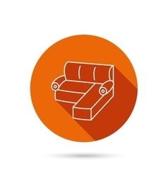 Corner sofa icon comfortable couch sign vector