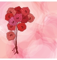Bouquet of red roses on pink abstract background vector