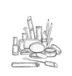Hand drawn cosmetics collection vector