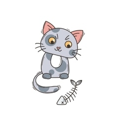 Cute cat character satisfied fed kitten vector