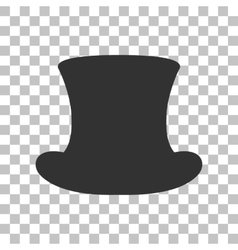 Top hat sign dark gray icon on transparent vector