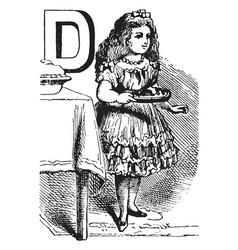 Alphabet d dealt it vintage vector