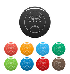 Angry smile icons color set vector