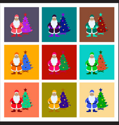 assembly flat christmas tree santa claus vector image vector image