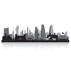 baku azerbaijan city skyline silhouette vector image vector image