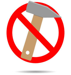 Ban hammer icon flat vector image
