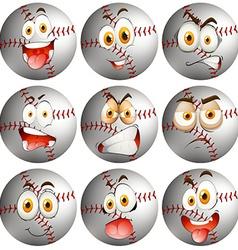 Baseball with facial expression vector image