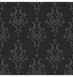 Black 3d floral damask seamless pattern vector