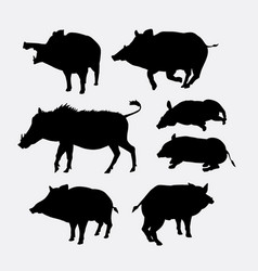 boar animal action silhouette vector image