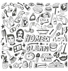 Clean home cleaning tools - doodles set vector