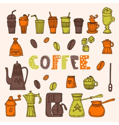 Collection of various sketches coffee doodles vector image vector image