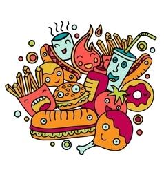Colorful cartoon fast food vector image