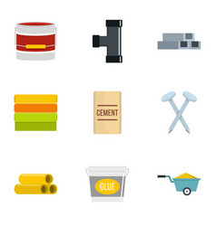 construction material icon set flat style vector image
