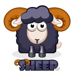 cute cartoon square black Sheep vector image vector image