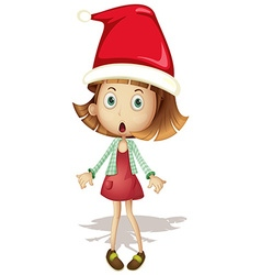 Cute girl wearing santa hat vector image vector image
