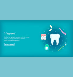 Dental hygiene banner horizontal cartoon style vector
