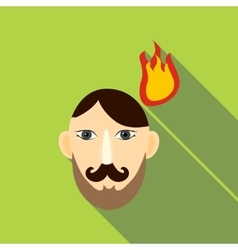 Fired head icon flat style vector