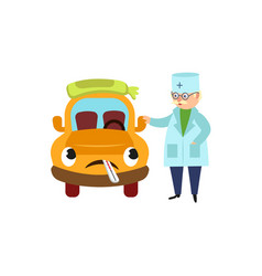 funny old doctor and sad car character having flu vector image vector image