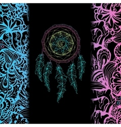 Indian dream catcher black background and vector