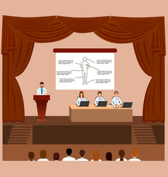 Medical conference session in a assembly hall vector
