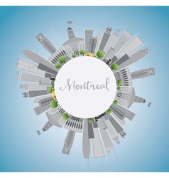 Montreal skyline with grey buildings blue sky vector