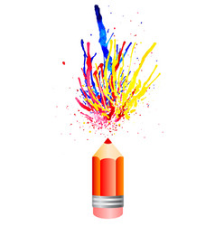 Multicolored watercolor splashes from pensil vector
