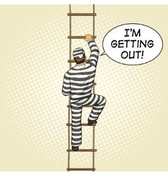 Prisoner crawling on a rope ladder pop art vector