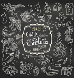 Set of chalk christmas design elements vector