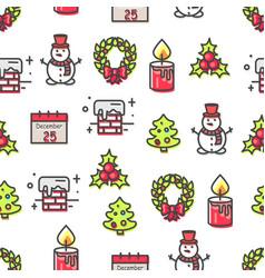 set of christmas theme symbols seamless pattern vector image vector image