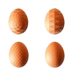 set of eggs in polygonal style vector image vector image