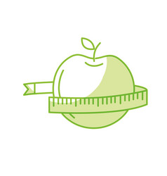 Silhouette delicious apple fruit with tap vector