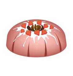 Strawberry bundt cake with sugar glaze vector