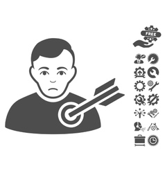 Target Man Icon With Tools Bonus vector image