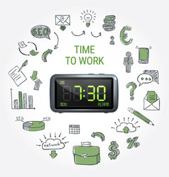 time to work round composition vector image