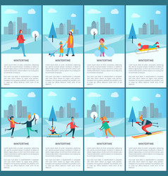 wintertime collection and text vector image vector image