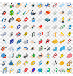100 care and help icons set isometric 3d style vector
