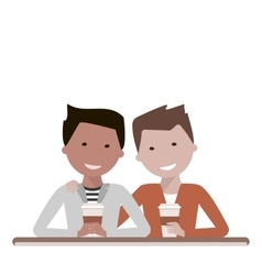 Two man friends drinking coffee vector