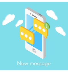 Isometric smartphone with new messages vector