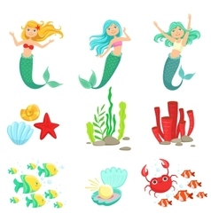 Mermaids And Underwater Nature Stickers vector image