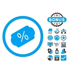 Discount label flat icon with bonus vector