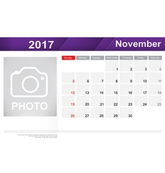 Year 2017 november month simple and clear design vector