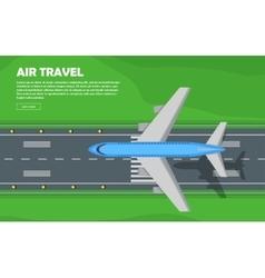 Aviation aircraft runway flight banner vector